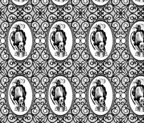 16 Marie Antoinette french France Queen Empress poufs parody caricature skulls skeletons black white filigree frames Victorian lace monochrome trellis elegant gothic lolita Baroque Rococo Princess morbid macabre scary   fabric by raveneve on Spoonflower - custom fabric