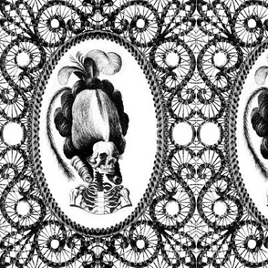 16 Marie Antoinette french France Queen Empress poufs parody caricature skulls skeletons black white filigree frames Victorian lace monochrome trellis elegant gothic lolita Baroque Rococo Princess morbid macabre scary
