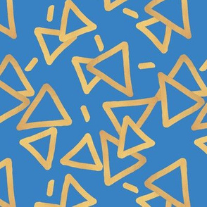 Tossed Gold Foil Triangles on Blue Upholstery Fabric