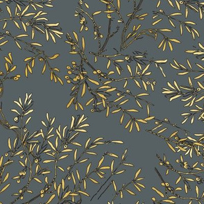 Gold branches on grey gold on gray olive branch olives tree branches