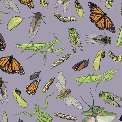 All the Insects on Light Purple fabric by landpenguin on Spoonflower - custom fabric
