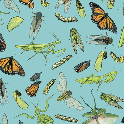 All the Insects on Light Blue fabric by landpenguin on Spoonflower - custom fabric