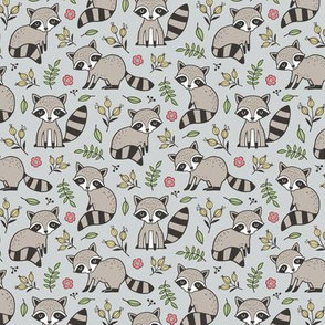 Raccoon with Leaves & Flowers on Light Grey Smaller