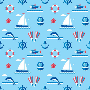 Nautical blue sea with dolphin & sail boat