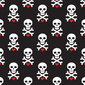 Skull and Red Heart