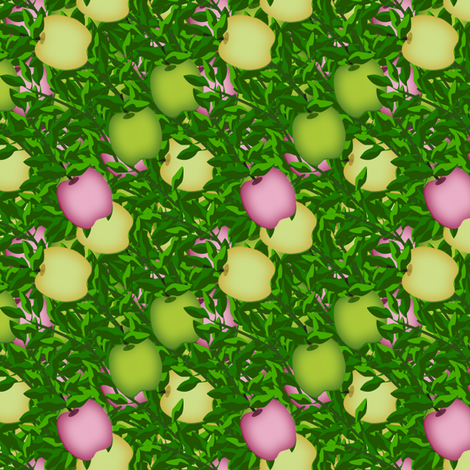 Pink Yellow and green apple treasure  fabric by anino on Spoonflower - custom fabric