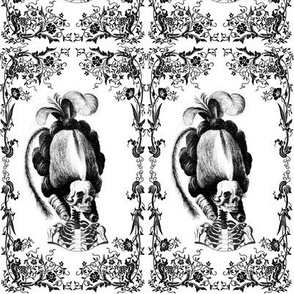 19 Marie Antoinette french France Queen Empress poufs skulls skeletons Victorian Princess flowers floral leaves leaf monochrome black white vines  elegant gothic lolita Baroque Rococo borders frames medallions  morbid macabre scary parody caricature egl