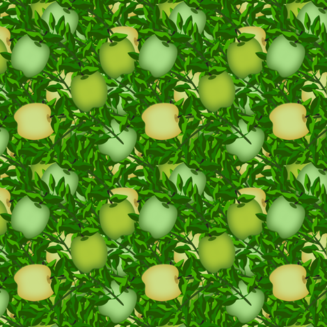 Yellow and green apple treasure  fabric by anino on Spoonflower - custom fabric