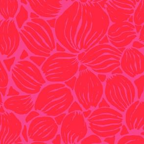 RED PETALS ON DARK PINK