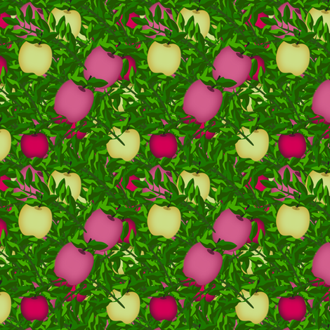 Pink Yellow and Red apple treasure  fabric by anino on Spoonflower - custom fabric
