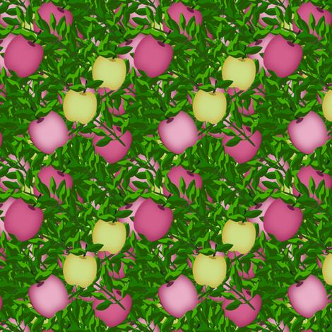 Pink and Yellow apple treasure  fabric by anino on Spoonflower - custom fabric