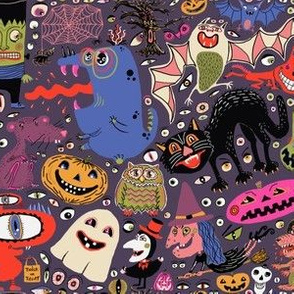 Yay for halloween! large scale, mauve aubergine eggplant purple plum colorful blue red green ivory