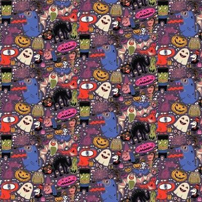 Yay for halloween! small scale, mauve aubergine eggplant purple plum colorful blue red green ivory