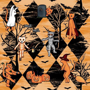 Halloween Cats (Orange, Black, Trees)