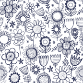 navy line flowers