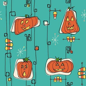 retro  jack'o'lanterns  and candy corn_vintage halloween