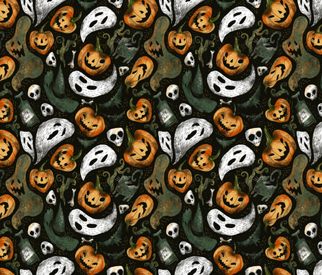 halloween party fabric by daria_nokso on Spoonflower - custom fabric