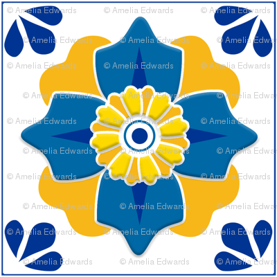 Talavera 4-petal Flower - Blue and Yellow