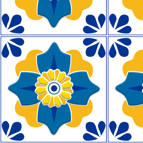 Talavera 4-petal Flower - Blue and Yellow fabric by ameliae on Spoonflower - custom fabric