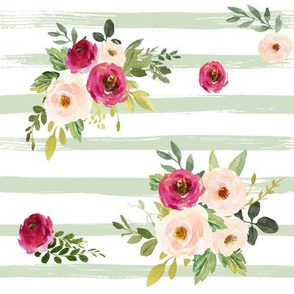 Spring Peony Blooms on Sage Stripes // Medium Scale