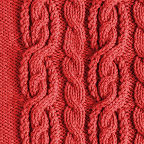 Cabled Knit - Medium Red
