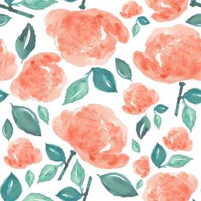 "18"" Bohemian Rose - Peach and Green"