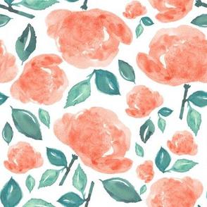 "8"" Bohemian Rose - Peach and Green"