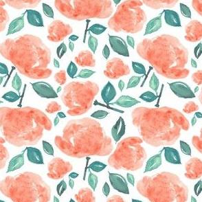 "4"" Bohemian Rose - Peach and Green"