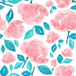 """18"""" Bohemian Rose - Pink & Aqua"""