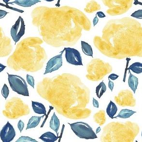 "8"" Bohemian Rose - Yellow & Blue"