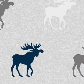 Big Moose on Linen - navy, grey and white