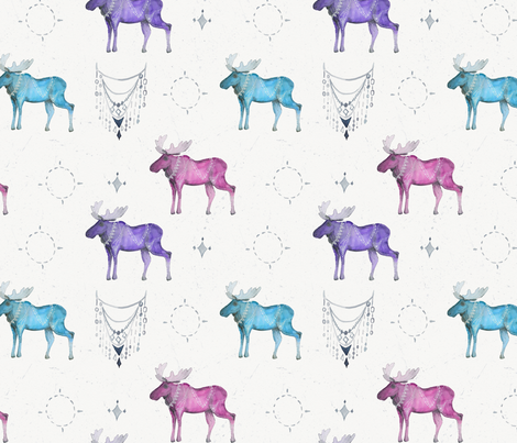 Boho Majestic Moose in Bright Tones fabric by passionflora_design on Spoonflower - custom fabric
