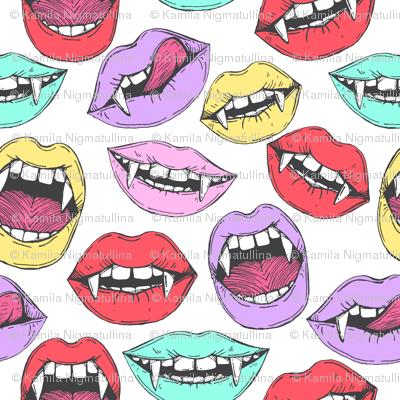 Vintage halloween vampire lips