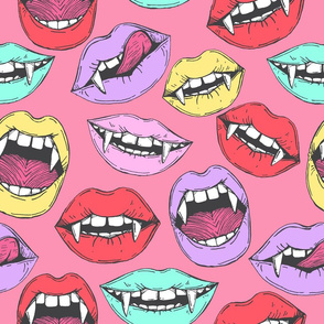 Vampire lips on pink background
