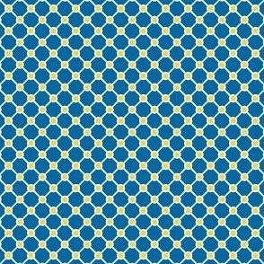 Talavera - Half Inch Blue Grid with Yellow Corner Dots