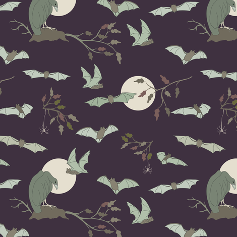 Bats in the Night,  Small - Grape fabric by fernlesliestudio on Spoonflower - custom fabric