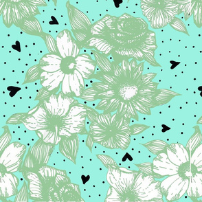 Teal and Green Floral Line Art Print