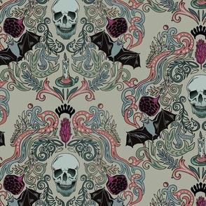 Vintage Skull & Bats Grey Damask