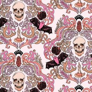 Vintage Skull & Bats Pink Damask