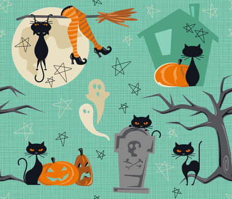 Vintage Halloween Cats fabric by juliesfabrics on Spoonflower - custom fabric
