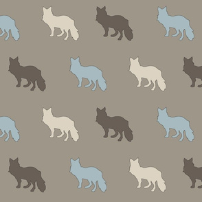 Foxes in Taupe and Muted Blue