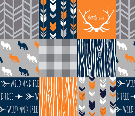 Patchwork with Foxes  navy and orange fabric by sugarpinedesign on Spoonflower - custom fabric