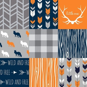 Patchwork with Foxes  navy and orange