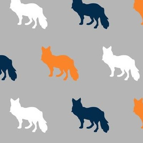 "2"" Multi Fox - orange, navy, white on grey"