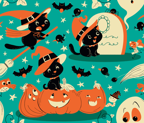 Halloween kitty witch fabric by gnoppoletta on Spoonflower - custom fabric