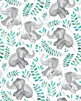 Laughing Baby Elephants with Emerald and Turquoise leaves on white - large print