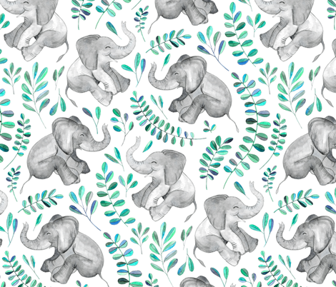 Laughing Baby Elephants with Emerald and Turquoise leaves on white - large print fabric by micklyn on Spoonflower - custom fabric