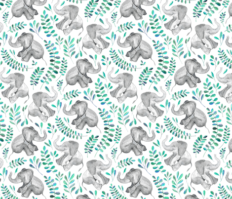 Laughing Baby Elephants with Emerald and Turquoise leaves on white - small print fabric by micklyn on Spoonflower - custom fabric