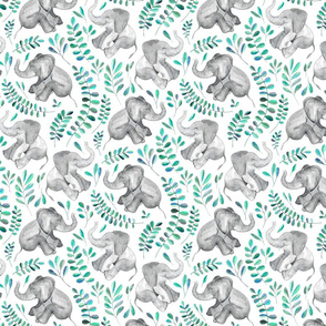 Laughing Baby Elephants with Emerald and Turquoise leaves on white - small print