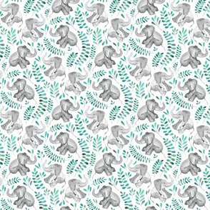 Tiny Laughing Baby Elephants with Emerald and Turquoise leaves on white